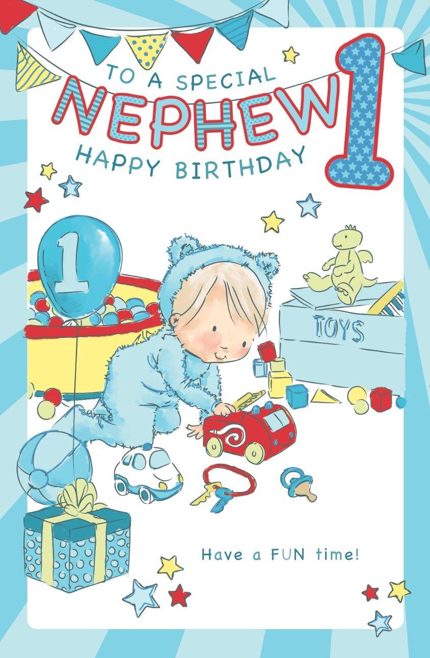 Nephew 1st birthday card crediton card centre nephew 1st birthday card bookmarktalkfo Images