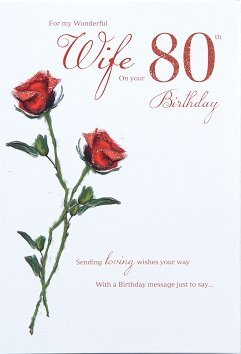 Wife 80th birthday crediton card centre wife 80th birthday bookmarktalkfo Choice Image