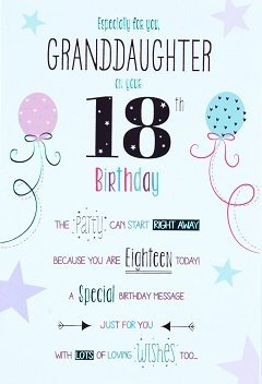Granddaughter 18th Birthday Card Crediton Centre