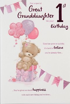 Great Granddaughter Age 1 Birthday Card