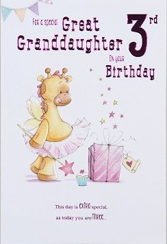 Great Granddaughter Age 3 Birthday Card