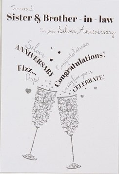 sister brother in law silver wedding anniversary card crediton